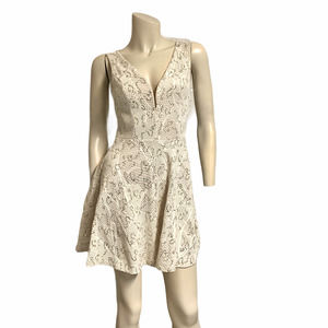 gold sequin fit and flare stretch v front dress